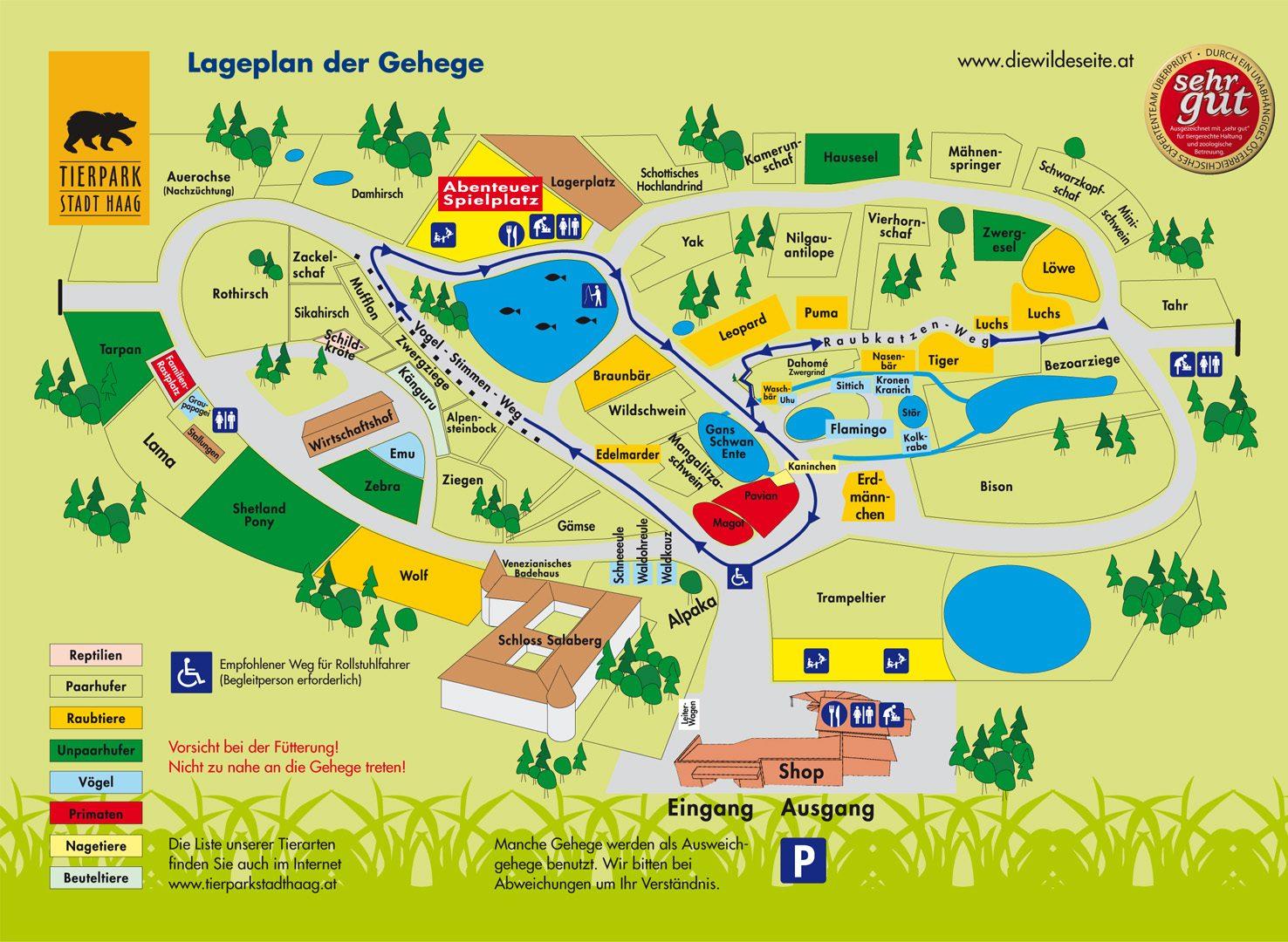 Tierpark Stadt Haag Gehegeplan